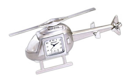 Helicopter Clock (CL-SILVER HELI)-SkySupplyUSA
