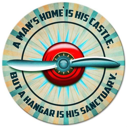 A Man's Hangar is His Sanctuary Metal Sign SIGN-PROP-CASTLE SkySupplyUSA.com
