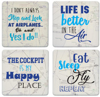 Coasterstone 4 Piece Stone Coaster Set - Aviation  COASTERSTONE-FLY SkySupplyUSA.com