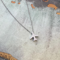 Stainless Steel Airplane Necklace AIRPLANE NECKLACE-SIL SkySupplyUSA.com