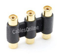 3-RCA Female to 3-RCA Female Coupler, Gold-Plated