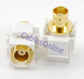 BNC RG58 F/F Keystone Jack, White, Gold-Plated
