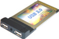 Dual Hi-Speed USB 2.0 PCMCIA Laptop CardBus Adapter, Koutech