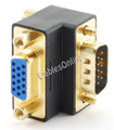 VGA (HD15) 90-Degree Male to Female Adapter - Gold Plated