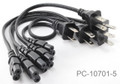 5-Pack 1ft 2-Prong Figure-8 Replacement Non-Polarized Power Cord Cable