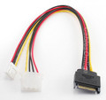 "12"" SATA 15-Pin Male to 4-Pin Molex Female & 4-Pin Power Cable"