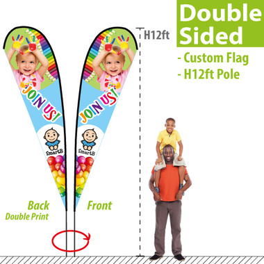 H12ft Double-sided Teardrop Banner