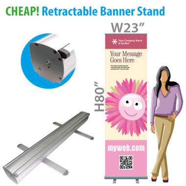 Cheap Retractable Banner Stands + Full Color custom printing on Vinyl Banner.