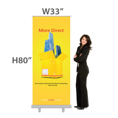 "Standard Size W33""xH80"" Economy Retractable Banner with custom vinyl banner printing"