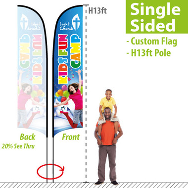 H13ft Feather Flag (Single Sided full color custom printing)