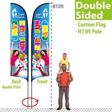H13ft Feather Flag (Double Sided custom printinig)
