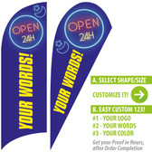 OPEN 24 HOURS! Blue Custom Feather Flags