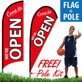 Come in WE'RE OPEN (Red/White)! Feather Flag Banner