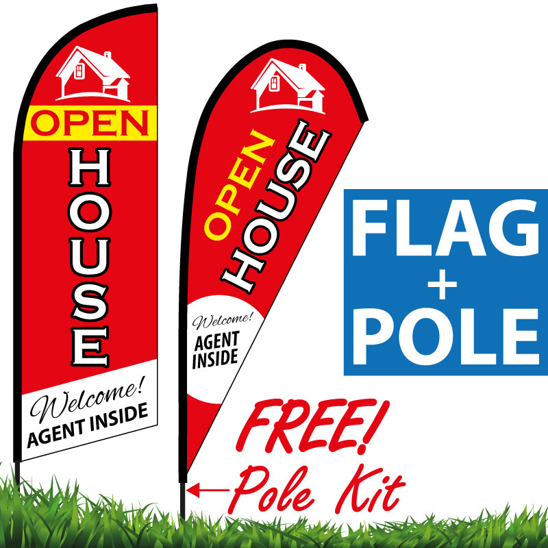 Open House Feather Flag Welcome Agent Inside Red EyeBanner