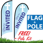 CHURCH Feather Flag - You're Invited (Blue Banner with White Cross)