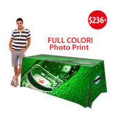 Full Color Picture Full Cover Custom Print (3 Sides) - 6ft Trade Show Table Cover