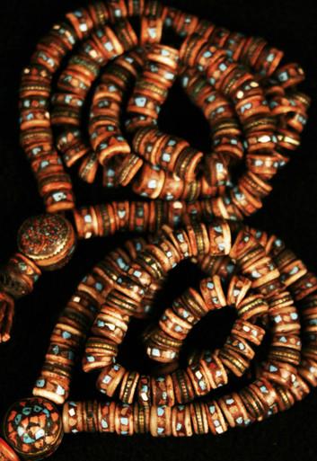 Tibet Yak Bone Prayer Beads with inlay. At Tibet Spirit Store