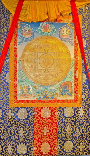 Gold Green Tara, Tibetan Buddhist Mandala Thangka