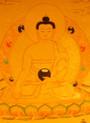 Gold Painted Buddha Thangka framed.