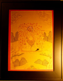 Gold Painted Ekajati Thangka framed.