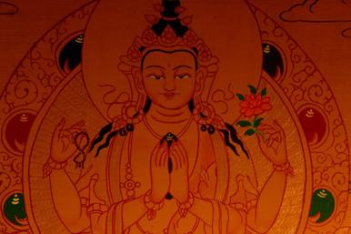 Gold Painted Chenrezig, Bodhisattva of Compassion Thangka framed.
