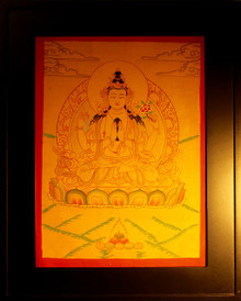 Chenrezig, Bodhisattva of Compassion Gold Painted Thangka framed.