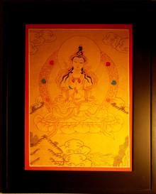 Vajrasattva Gold Painted Thangka framed.