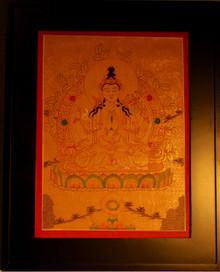 Chenrezig Gold Painted Thangka framed.