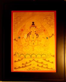 Chenrezig, Bodhisattva of Compassion Thangka framed.