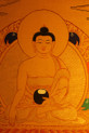 Shakyamuni Buddha Gold Painted  Thangka has framed.