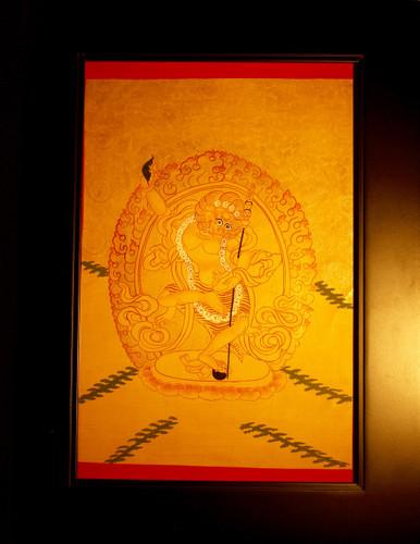 Simhamukha ༼སེང་གདོང་མ༽ Gold Painted  Thangka has framed.