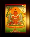 Amitayus Buddha Hand  Painted  Thangka has framed.