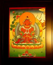 Amitayus Buddha Hand  Painted  Thangka has framed.