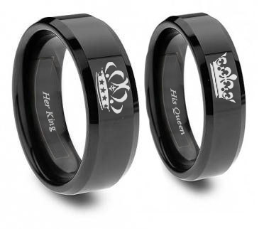 Black King and Queen Matching Ring Set for Him and Her