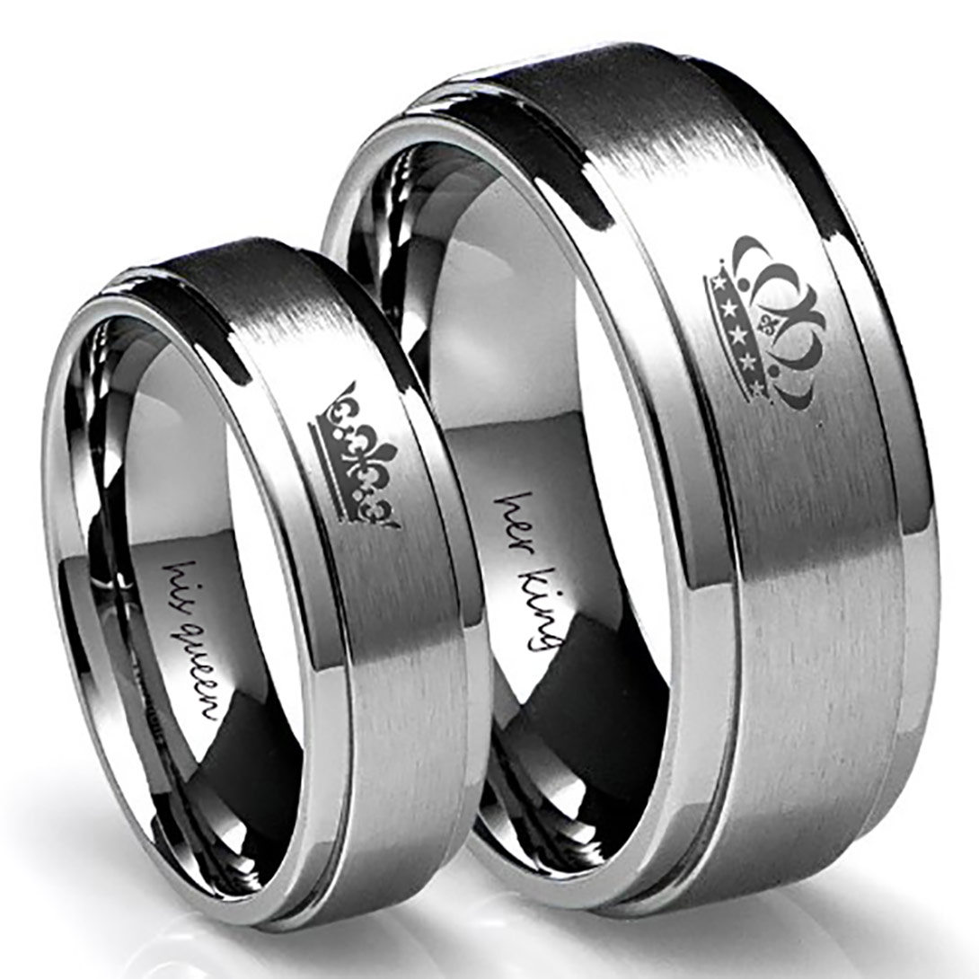 King and Queen Crown Rings For Couples