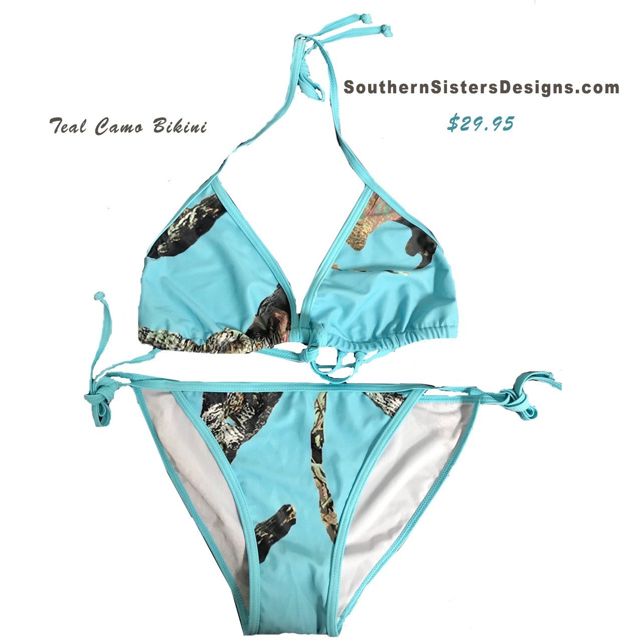 Teal Camo Ladies Swimsuit top and bottom set