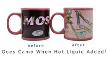 Pink Mossy Oak Camouflage Mug That changes color when hot liquids like coffee or tea are added!
