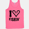 Fish hooks make up the heart in this tank top for girls that love fishing  - 100% cotton in pink