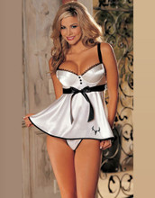 Deer Skull White Satin Baby Doll Lingerie For Women and Men that love to hunt