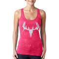 Silver Shimmer Deer Skull Burnout Tank Top