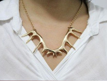 Country Girls Will Love This Deer Antler Gold Necklace with chain included