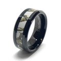 Men's or Women's White Camo Wedding Band on Black Band