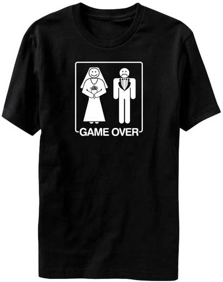 9e2c7321 Game Over - Just Married Funny T Shirt For Bride and Groom