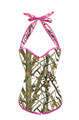 Hunting Camouflage Corset in White and Pink Trim