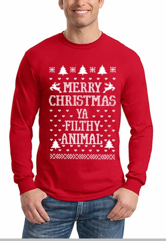 6f2a576cf Merry Christmas Ya Filthy Animal Long Sleeve Shirt In Red