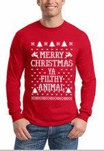 Merry Christmas Ya Filthy Animal Long Sleeve Shirt In Red