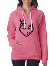 Buck and Doe Love Pink Hoodie for Women
