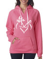 Buck and Doe Pink Women's Hoodie with White Graphic