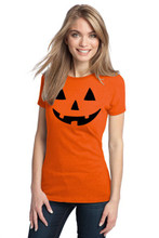 Ladies Jack O Latern Pumpkin T Shirt