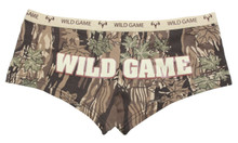 Wild Game Sexy Huntress Camo Booty Boy Short Panties from Southern Sisters Designs in hunting pattern with deer skull on the front and words on the rear